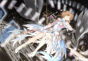 Rating: Safe Score: 99 Tags: brown_hair card_captor_sakura crown dress feathers gloves green_eyes hoshii_hisa kinomoto_sakura short_hair wand wings User: Dreista
