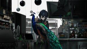 Rating: Safe Score: 42 Tags: animal bird black_hair computer dark green_eyes naruwe original polychromatic robot shirt short_hair signed tie User: otaku_emmy