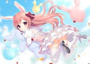 Rating: Safe Score: 133 Tags: animal_ears blush bow bunny bunny_ears dress loli long_hair original pink_eyes pink_hair stockings suzu_(kosakabe) thighhighs waifu2x User: Eleanor