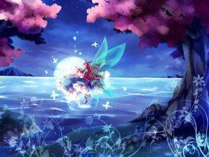 Rating: Safe Score: 84 Tags: blue_eyes butterfly dress fairy long_hair mochizuki_shiina moon original red_hair scenic stars water wings User: C4R10Z123GT