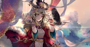 Rating: Safe Score: 136 Tags: animal bird black_hair clouds dress headdress horns kinokohime_(mican02rl) long_hair original red_eyes sky wristwear User: BattlequeenYume