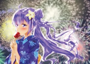 Rating: Safe Score: 49 Tags: anthropomorphism apple azur_lane candy fireworks food fruit japanese_clothes long_hair purple_eyes purple_hair unicorn_(azur_lane) wakamoto_riwo yukata User: Fepple