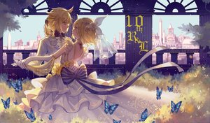 Rating: Safe Score: 31 Tags: bow building butterfly city dress kagamine_len kagamine_rin longyu male vocaloid wedding_attire User: RyuZU