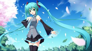 Rating: Safe Score: 51 Tags: ani aqua_hair cherry_blossoms flowers hatsune_miku long_hair petals thighhighs twintails vocaloid User: HawthorneKitty