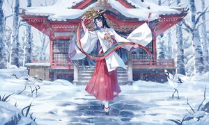 Rating: Safe Score: 48 Tags: animal bell bird black_hair blue_eyes headdress japanese_clothes long_hair miko original ryuu32 shrine snow socks stairs tree User: RyuZU