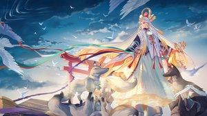 Rating: Safe Score: 57 Tags: animal bird clouds criin_(659503) long_hair miketsu_(onmyouji) onmyouji red_eyes reflection sky torii white_hair wolf User: RyuZU
