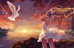 Rating: Safe Score: 100 Tags: animal bird blue_eyes clouds dress hatsune_miku headphones long_hair neko-mura_ikkro sky sunset vocaloid water User: Wiresetc