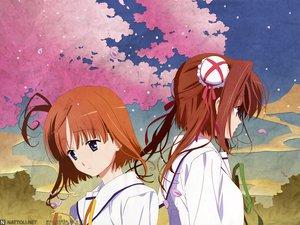 Rating: Safe Score: 16 Tags: asakura_yume blue_eyes brown_hair da_capo_ii orange_hair petals ribbons school_uniform short_hair sky tsukishima_koko User: Oyashiro-sama