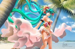 Rating: Safe Score: 82 Tags: aqua_hair beach bikini blue_eyes flowers hatsune_miku long_hair miyancaoi signed summer swimsuit twintails vocaloid water watermark User: humanpinka