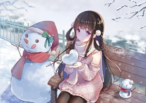 Rating: Safe Score: 85 Tags: brown_hair dress long_hair original pantyhose purple_eyes scarf scarlet_dango snow snowman winter User: BattlequeenYume