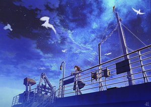 Rating: Safe Score: 18 Tags: boat brown_hair clouds mocha_(cotton) night original scenic school_uniform short_hair signed skirt sky stars User: mattiasc02