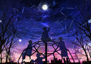 Rating: Safe Score: 31 Tags: all_male clouds group male moon n_y original sky stars sunset tree User: RyuZU