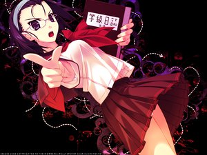 Rating: Safe Score: 46 Tags: black book glasses murakami_suigun purple_eyes purple_hair school_uniform short_hair User: Oyashiro-sama