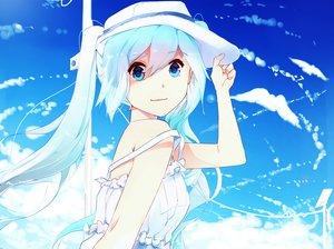 Rating: Safe Score: 97 Tags: aqua_hair hat hatsune_miku lien-tsu summer_dress twintails vocaloid User: mattiasc02