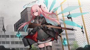 Rating: Safe Score: 46 Tags: ambriel_(arknights) animal arknights bird building food gloves gun halo kinona long_hair pink_hair pocky shirt skirt thighhighs weapon wings zettai_ryouiki User: PrimalAgony
