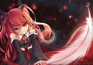 Rating: Safe Score: 79 Tags: animal bat dress feathers gothic krul_tepes long_hair owari_no_seraph pointed_ears red_eyes red_hair ribbons si_xia_daze skirt thighhighs vampire User: kitteh