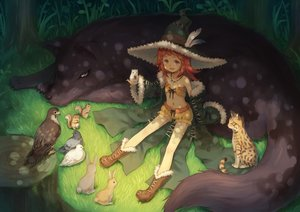 Rating: Safe Score: 95 Tags: animal bird boots cat feathers flat_chest grass hat loli luins-104 navel necklace orange_eyes original red_hair short_hair shorts witch_hat User: RyuZU