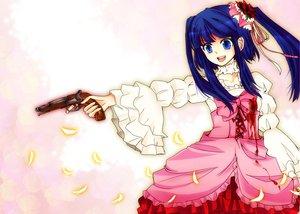 Rating: Safe Score: 9 Tags: blood blue_eyes blue_hair furudo_erika gun umineko_no_naku_koro_ni weapon User: HawthorneKitty