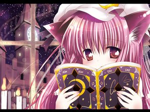 Rating: Safe Score: 38 Tags: animal_ears book catgirl hat long_hair patchouli_knowledge pink_hair red_eyes ribbons sky stars touhou User: 秀悟