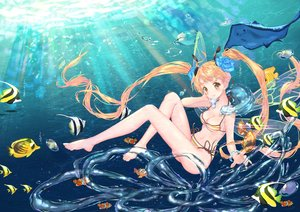 Rating: Safe Score: 31 Tags: animal barefoot bikini blonde_hair breasts bubbles cleavage fish flowers long_hair mintchoco navel original swimsuit twintails underwater water yellow_eyes User: BattlequeenYume