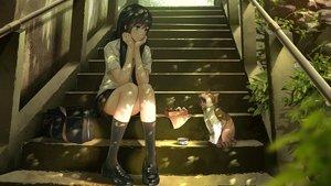 Rating: Safe Score: 178 Tags: animal cat cropped food kneehighs original school_uniform shade sho_(shoichi-kokubun) stairs User: gnarf1975