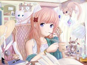 Rating: Safe Score: 69 Tags: animal animal_ears book brown_hair bunny cat catgirl food original pocky purple_eyes ribbons roddo User: Tensa