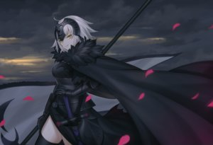 Rating: Safe Score: 67 Tags: armor cape clouds dress fate/grand_order fate_(series) gloves gray_hair headdress jeanne_d'arc_alter jeanne_d'arc_(fate) mutugi petals short_hair sky sword thighhighs weapon yellow_eyes User: RyuZU