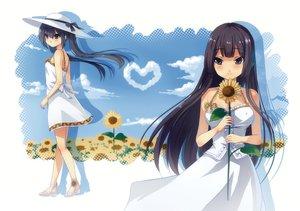 Rating: Safe Score: 35 Tags: 2girls akiyama_mio black_eyes black_hair dress flowers hat k-on! li_(liras) long_hair nakano_azusa summer_dress sunflower twintails User: HawthorneKitty