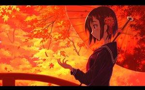 Rating: Safe Score: 43 Tags: autumn brown_hair leaves original red_eyes school_uniform short_hair sorano_eika umbrella User: RyuZU
