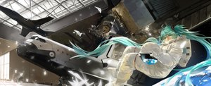 Rating: Safe Score: 98 Tags: aircraft aqua_eyes aqua_hair hatsune_miku long_hair saberiii space twintails vocaloid User: FormX