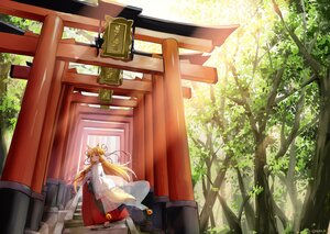 Rating: Safe Score: 32 Tags: animal_ears bell blonde_hair forest foxgirl hazuki_natsu japanese_clothes long_hair miko original red_eyes see_through signed stairs tail torii tree User: Maboroshi