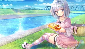 Rating: Safe Score: 54 Tags: blush bow clouds dress emily food game_cg grass gray_hair maisaka_mai marmalade purple_eyes scenic short_hair skirt sky study_§_steady thighhighs water User: RyuZU