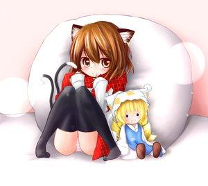 Rating: Safe Score: 45 Tags: animal_ears catgirl chen doll foxgirl k_isa multiple_tails panties striped_panties tail touhou underwear yakumo_ran User: SciFi