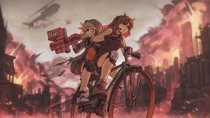 Rating: Safe Score: 29 Tags: 2girls bicycle brown_eyes brown_hair building city fire gloves headphones microphone original short_hair shorts socks th3pr0phecy weapon User: RyuZU