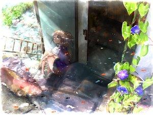 Rating: Safe Score: 46 Tags: animal ao_(aohari) barefoot brown_hair fish flowers original User: FormX