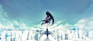 Rating: Safe Score: 140 Tags: black_hair building city clouds dyolf long_hair original polychromatic scenic school_uniform sky User: sadodere-chan