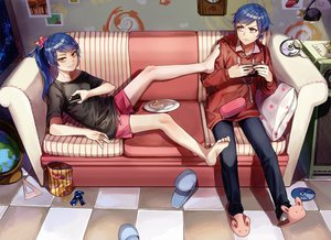 Rating: Safe Score: 107 Tags: barefoot blue_hair couch food game_console hoodie kim_eb male original ponytail shorts yellow_eyes User: luckyluna