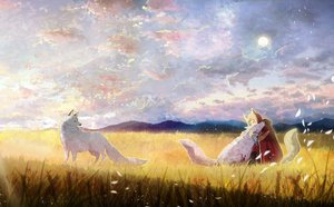 Rating: Safe Score: 51 Tags: animal animal_ears ao_(aohari) clouds grass original petals short_hair sky tail wolf wolfgirl User: RyuZU