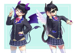 Rating: Safe Score: 20 Tags: aliasing animal_ears black_hair blue_eyes bow catgirl cosplay demon glasses horns kath long_hair nijisanji seifuku sunglasses tail thighhighs tsukino_mito wings zettai_ryouiki User: otaku_emmy