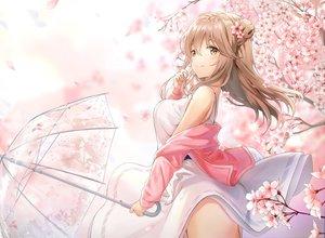 Rating: Safe Score: 86 Tags: brown_eyes brown_hair cherry_blossoms flowers long_hair l_seohui original umbrella User: mattiasc02