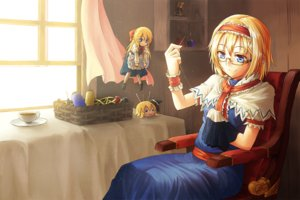 Rating: Safe Score: 93 Tags: alice_margatroid blonde_hair blue_eyes bow doll dress freeze-ex glasses headband hourai kirisame_marisa shanghai_doll short_hair touhou User: C4R10Z123GT