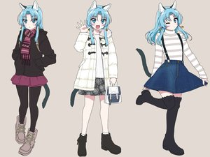 Rating: Safe Score: 19 Tags: animal_ears aqua_eyes aqua_hair bell blush boots catgirl hoodie long_hair ootori_kei original pantyhose scarf skirt tail thighhighs wink User: otaku_emmy