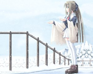 Rating: Safe Score: 71 Tags: brown_hair green_eyes long_hair ponytail school_uniform skirt sky snow thighhighs tree winter zettai_ryouiki User: Oyashiro-sama