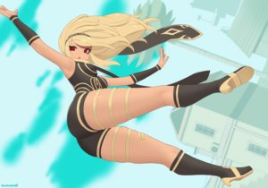 Rating: Safe Score: 17 Tags: ass blonde_hair building clouds dark_skin gravity_daze headband kat_(gravity_daze) kneehighs kuroonehalf long_hair red_eyes scarf shorts sky watermark User: otaku_emmy