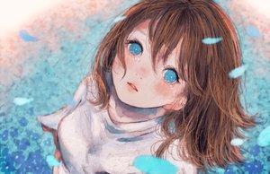 Rating: Safe Score: 36 Tags: aqua_eyes blush brown_hair close crying orie_h original petals short_hair tears User: RyuZU