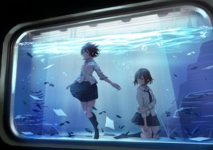 Rating: Safe Score: 64 Tags: 2girls animal blue_eyes brown_eyes brown_hair fish kneehighs original paper sakeharasu school_uniform short_hair skirt tie underwater water User: RyuZU