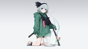 Rating: Safe Score: 113 Tags: aqua_eyes dtvisu flowers gradient gray_hair headband hoodie katana konpaku_youmu myon short_hair sword touhou weapon User: Hakha