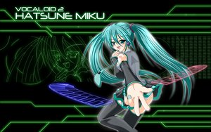 Rating: Safe Score: 28 Tags: green_eyes green_hair hatsune_miku headphones long_hair thighhighs twintails vocaloid User: pantu