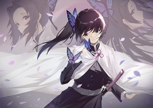 Rating: Safe Score: 68 Tags: augu_(523764197) black_hair butterfly cape japanese_clothes katana kimetsu_no_yaiba kochou_shinobu ponytail purple_eyes sword tsuyuri_kanao uniform weapon User: BattlequeenYume