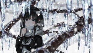 Rating: Safe Score: 184 Tags: black_hair green_eyes long_hair original scarf school_uniform snow winter yuzua User: BattlequeenYume